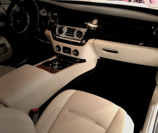 White and Black Rolls Royce Interior Cabinwww.DiscoverLavish.com