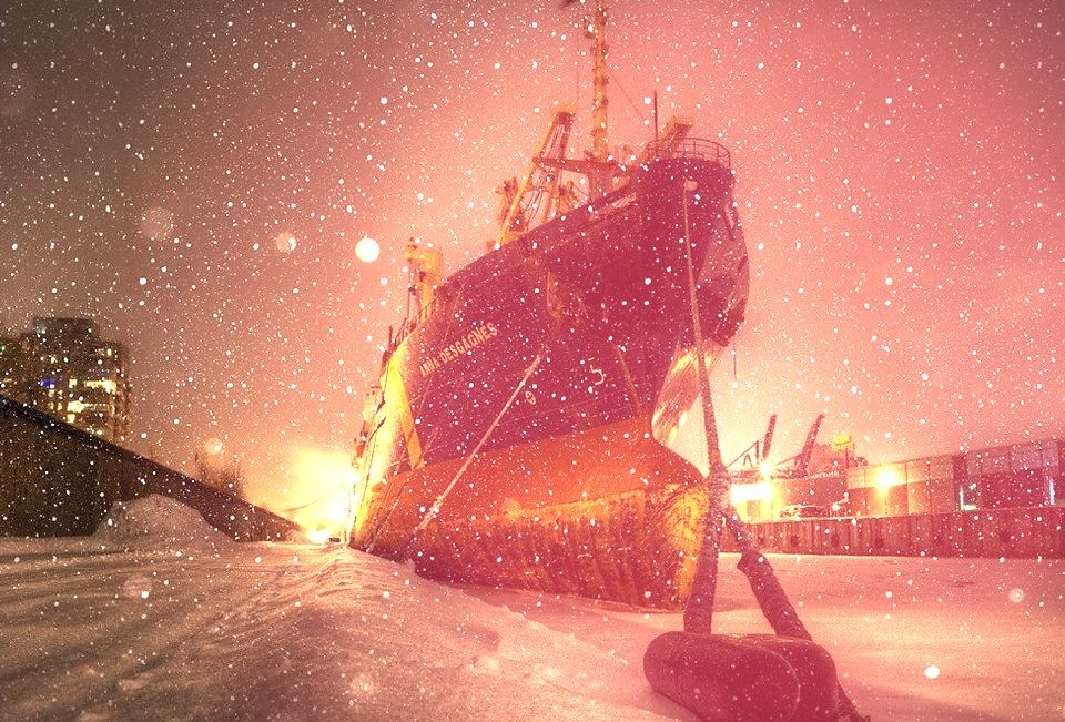 Luxury Yacht Stuck in Ice and Snow